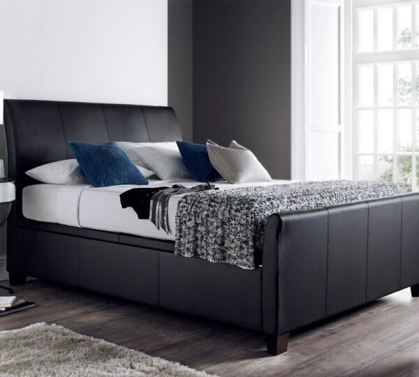 Sage Bedroom Bisbee Black Leather Ottoman Bedstead Jones And Tomlin
